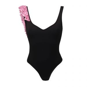 Kinda in bloom 3D swimwear swimsuit bikini with flowers petals one piece black costume intero donna nero azzurro rosa ragazza modella figura intera