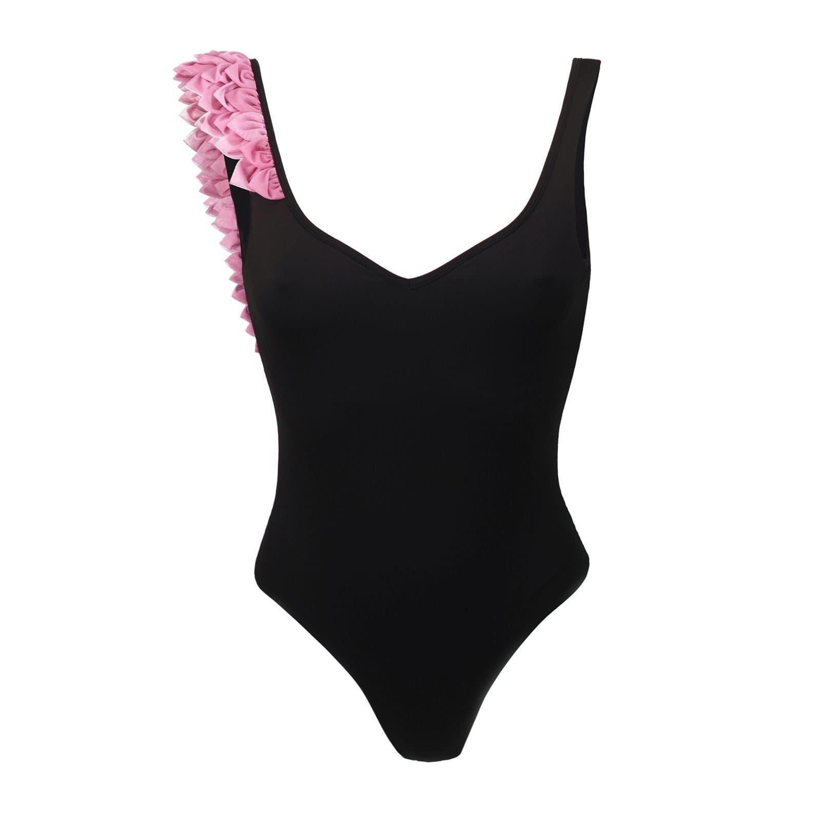 0cb133457 In Bloom black one piece with pink 3D petals - Kinda 3D swimwear