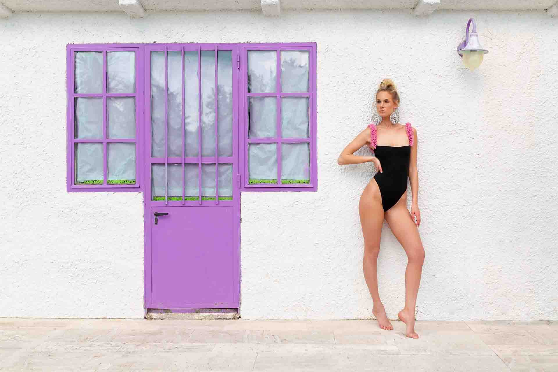 Rebel black and pink one piece