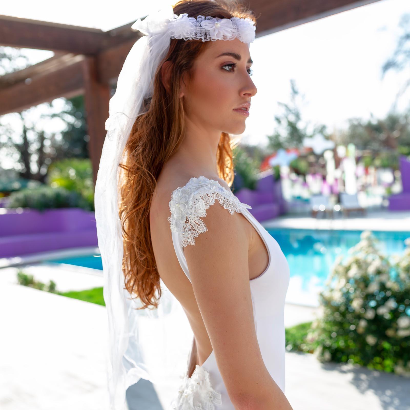 Kinda 3D Swimwear Reina white swimsuit bikini bianco con pizzo with lace addio al nubilato hens party