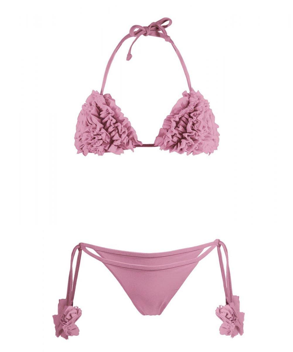 Kashmir bikini pink rosa old pink baby pink costume triangolo coppe kinda 3d swimwear pink swimsuit bride bikini hen party bachelorette party bikini rosa con fiori tulle