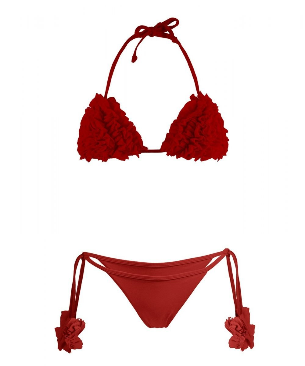 costume rosso due pezzi bikini rosso porpora red swimsuit red bikini with flowers costume intero rosso kinda 3d swimwear bikini triangolo rosso kindaswimwear estate 2020 2021 summer must have bikini costume chiara ferragni Paola turani