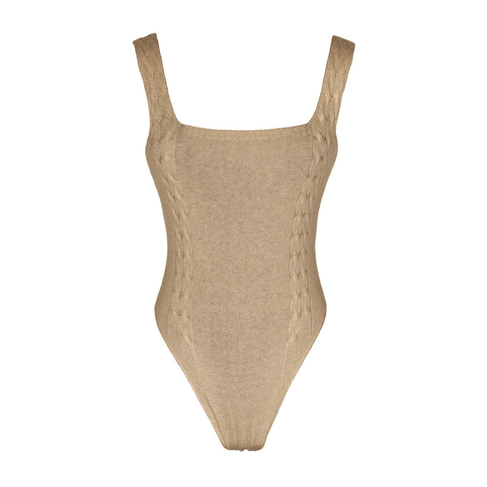 Sand knitted bodysuit loungewear kinda_front
